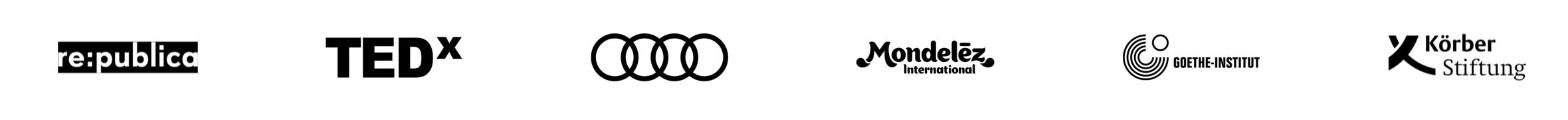 Logos von ausgewählten Referenz-Firmen und Veranstaltungen: re:publica, TEDx, Audi, Mondelez, Goethe-Institut, Körber-Stiftung,